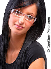 Fashionable Girl - Beautiful Black Haired Teenage Girl...