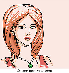fashionable girl - The charming young girl with red hair and...