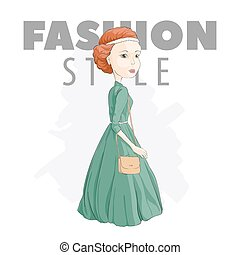 Fashionable girl in a green dress