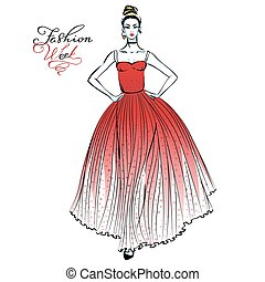Fashionable girl in red dress - Vector beautiful fashionable...
