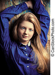 fashionable girl - Portrait of a cute smiling teen girl...