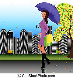 Fashionable girl walking