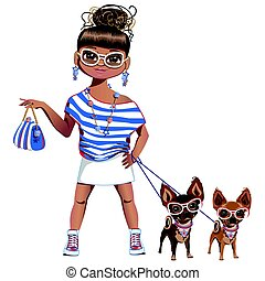 Fashionable girl with a little dog