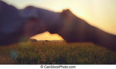 Fashionable happy couple join hands runs across the field in sunset light and cuddling, lifestyle - happiness