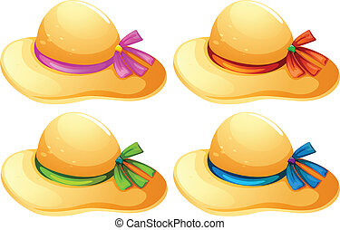 Fashionable hats - lllustration of the fashionable hats on a...