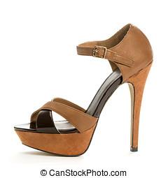 Fashionable High Heels Shoe - high heels shoe in brown suede