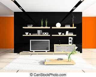 Fashionable home interior 3D rendering