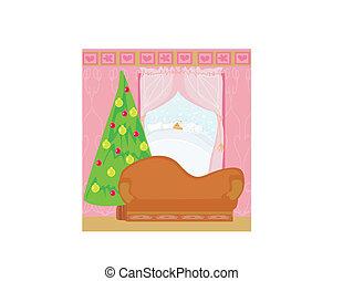 Fashionable interior of living room with Christmas tree