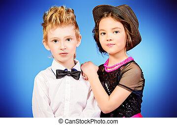 fashionable kids - Two modern kids posing together. Fashion...