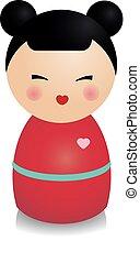 Fashionable kokeshi doll. Traditional japanese figure in...