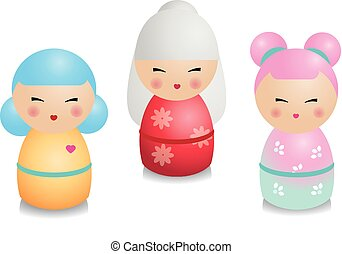 Fashionable kokeshi set. Traditional japanese dolls in realistic style. Stickers, design elements