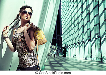 fashionable lady in a modern interior