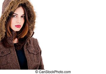fashionable lady wearing overcoat - fashionable young lady...