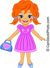 Fashionable little girl with a bag. Cartoon drawing