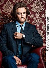 in elegant formal suit