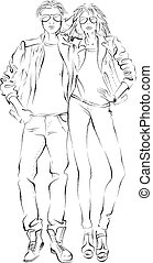 fashionable man and woman, black and white sketch