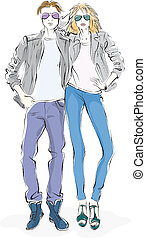 fashionable man and woman, sketch on a white background