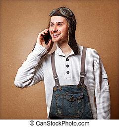 Fashionable man calling