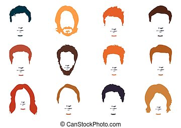 Fashionable men's hairstyle, beard, face, hair, cut-out masks.