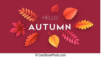 Fashionable modern autumn background with bright autumn leaves for design of posters, flyers, banners.  Vector illustration