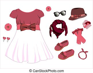 Fashionable modern look. Scarf, scarf, dress, gloves. Clothes for girls and dolls. Vector illustration isolated on a white background.