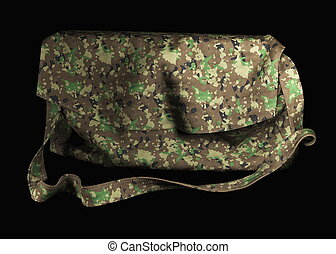 fashionable modern shoulder bag is made of fashion-style camouflage material in military style. Isolated on black 3d illustration