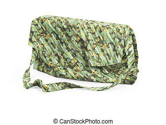 fashionable modern shoulder bag is made of fashion-style camouflage material in military style. Isolated on white 3d illustration