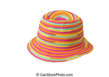 Fashionable multi-colored sun hat isolated on a white background.