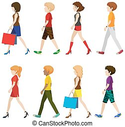 Fashionable people walking without faces