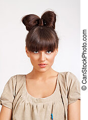 elegant girl with nice hairstyle - Fashionable photo of...