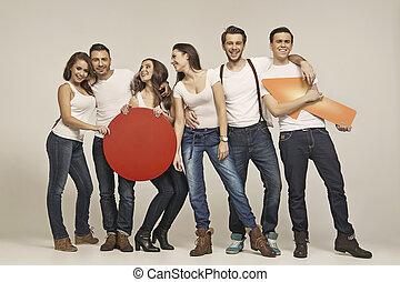Fashionable photo of young smart people