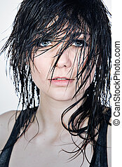Pretty Teenager with Wet Hair - Fashionable Shot of a Pretty...
