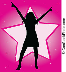 fashionable silhouette of the girls - vector illustration