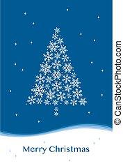 Fashionable snowflake Christmas tree greeting card