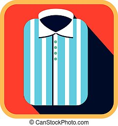 Fashionable Striped Man Shirt. Flat vector Icon with long shadow