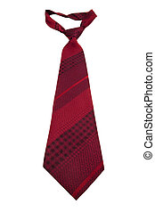 Fashionable striped necktie on a white background