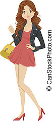 Fashionable Student - Illustration of a Female Student...