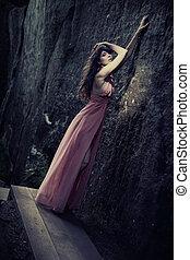 fashionable, stunning, klæde, skønhed