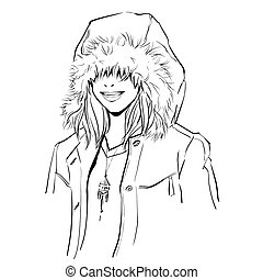 Fashionable stylish woman in winter clothes. She is wearing warm parka and big hood. Hand drawing vector illustration with black line art. Monochrome illustration