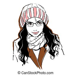 Fashionable stylish woman in winter clothes.