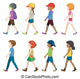 Fashionable teenagers walking on a white background