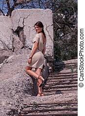 Fashionable woman in dress