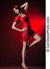 fashionable woman in red dress
