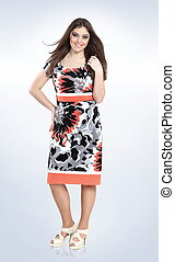 fashionable woman model in summer dress. plus size