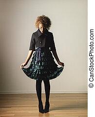 Fashionable woman - Pretty woman in dress portrait.