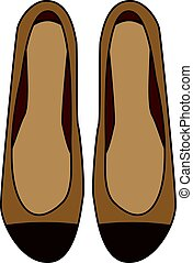Fashionable woman shoes. Hand drawn icon, vector illustration. Female footwear, brown flats