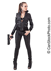 Fashionable woman with a gun