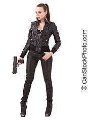 Fashionable woman with a pistol