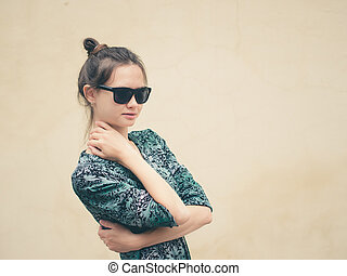 Fashionable woman with copy space