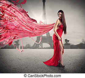 Fashionable woman - Woman with red evening dress with...